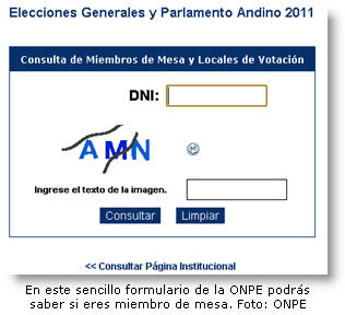 Formulario para saber si eres miembro de mesa - Elecciones Presidenciales 2011