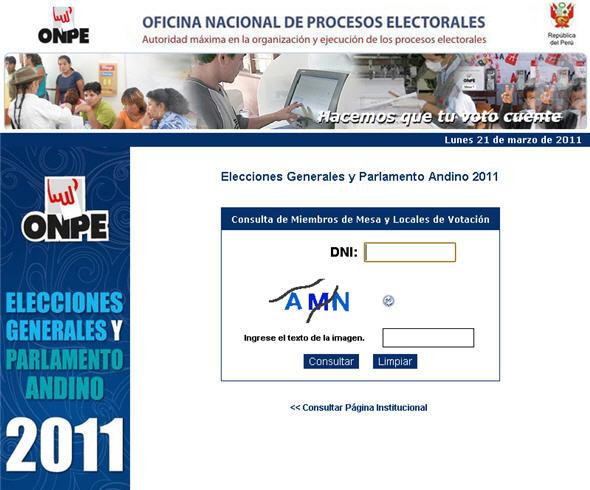 Formulario para saber si eres miembro de mesa - Elecciones Generales 2011