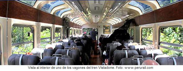 Foto interior del tren Vistadome - Cusco a Machu Picchu