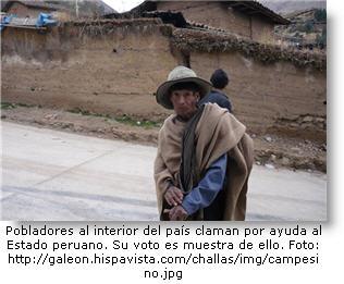 Campesino pobre en la sierra de Perú.
