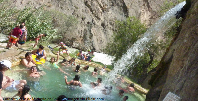Waterfall Velo de la Novia in the hot springs of Churín