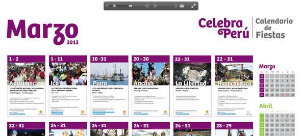 Calendario online Fiestas Marzo 2013 Peru