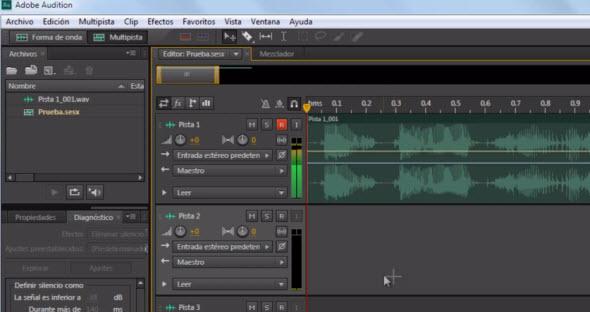 Vista de Edición de Audio en varias pistas