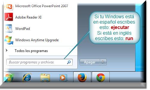 Abriendo la ventana ejecutar desde Windows 7