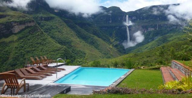 Hotel Gocta Lodge exteriores y vista de la piscina