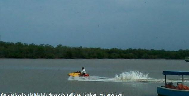 "banana boat in the ""Hueso de Ballena"" Island in Tumbes"