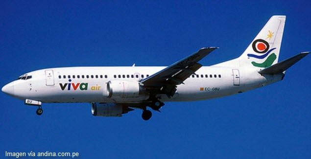 Avión de Viva Air ingresó a los cielos de Perú