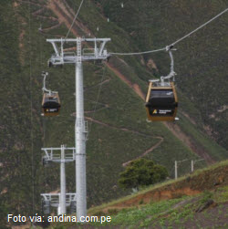 Gigantescos pilotes soportan el tendido de cables y el teleférico de Kuélap