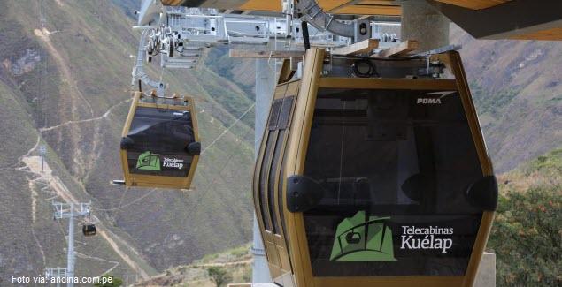 Nuevo sistema de telecabinas teleférico de Kuélap en Chachapoyas, Amazonas