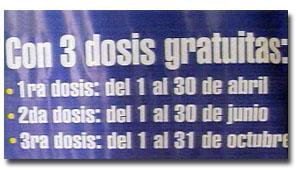 tres dosis de vacunación