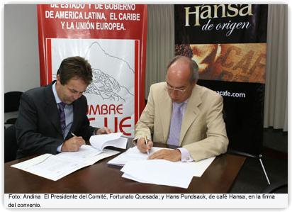 Convenio entre Café Hansa y Comité de Oficio de Cumbres