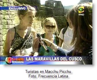 Imagen del programa Reporte Semanal sobre visita de turistas a Machu Picchu