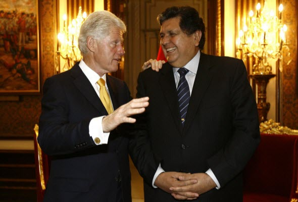 Alan García y Bill Clinton