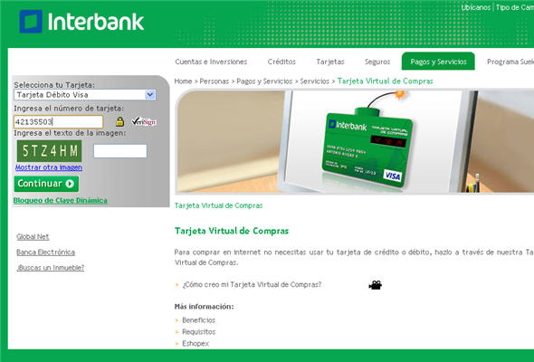 Tarjeta virtual Interbank
