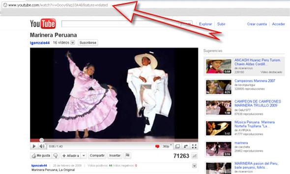 Copiar url de video en youtube