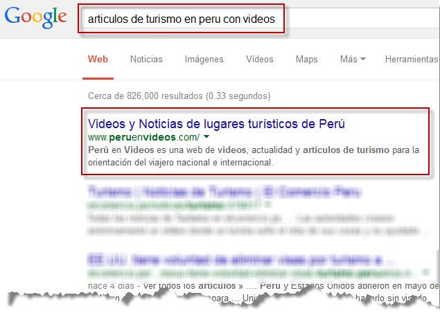 Ejemplo de resultados de búsquedas orgánicas en Google Perú