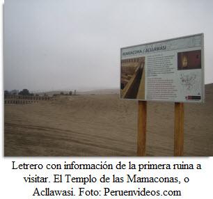 Foto de letrero con información del Templo Acllawasi.