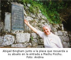 Abigail Bingham nieta del descubridor de machu Picchu