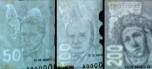 billetes en sello de agua