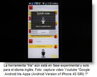 Iris compite con Siri del Iphone 4S - Móviles con reconocimiento de voz