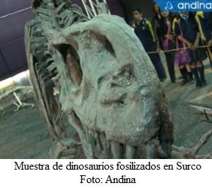 Exhibición de fósiles de dinosaurio en Surco - noticias