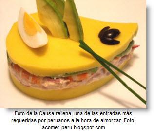 Exquisita Causa Rellena, una entrada típica de la gastronomía peruana.