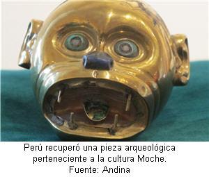 Cultura Moche, Señor de Sipan, cabeza de mono dorada - noticias