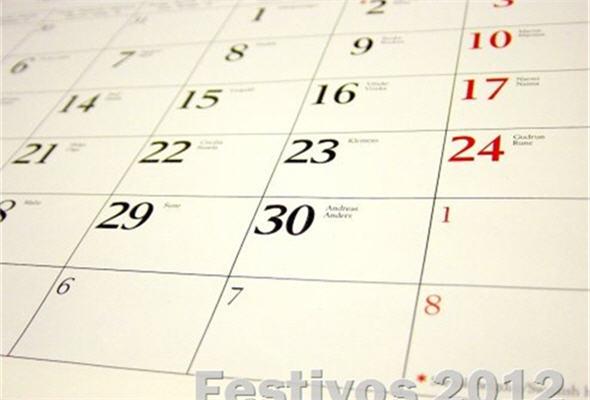 feriados en 2012, fechas no laborables - noticias