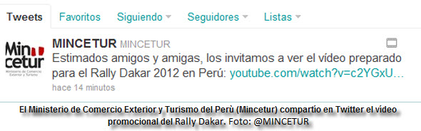 El Mincetur compartió esta mañana un vídeo sobre el Rally Dakar