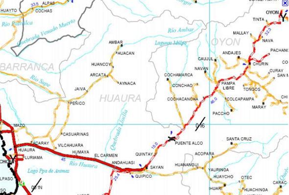 Plano para llegar a los Baños Termales de Churín, aguas medicinales - noticias