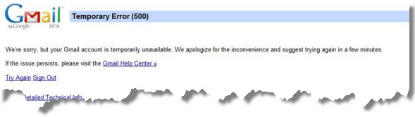 El servicio de correos gratuitos Gmail de Google se cayó parcialmente el 17 de abril del 2012