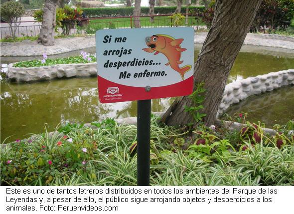 No arrojar desperdicios a los animales del zoológico del Parque de las Leyendas.