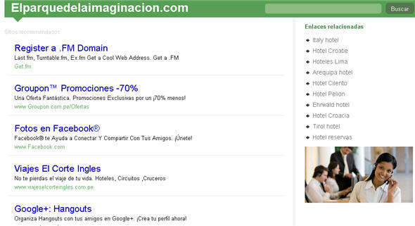 La web del Parque de la Imaginación en parking al 17 de mayo del 2012
