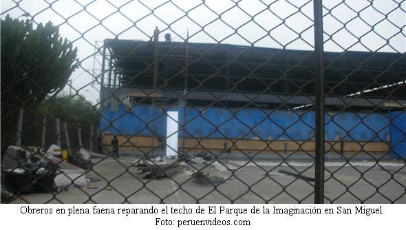 Reparan el techo de El Parque de la Imaginación en San Miguel