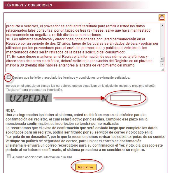 """Quinto paso para registro online en sistema """"Gracias No insista"""" de Indecopi."""