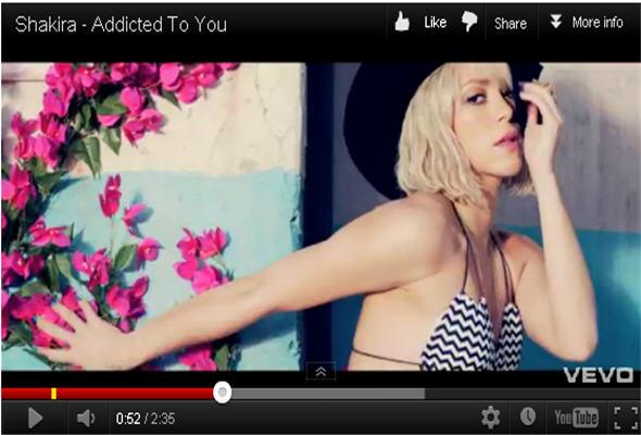 La rubia cantante colombiana Shakira estrenó nuevo videoclip en VEVO de Youtube.