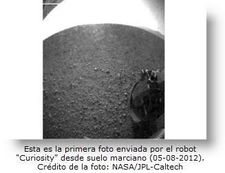 """Foto gran angular """"ojo de pez"""" del suelo de Marte por sonda """"Curiosity"""""""
