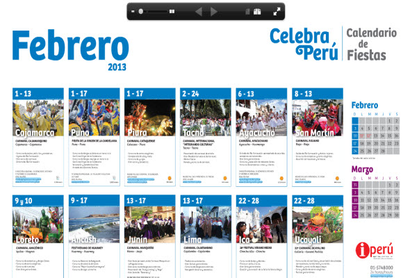 Calendario de Fiestas Febrero 2013 de Promperu