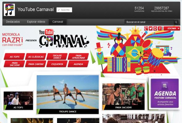 Imagen del canal de Youtube para el Carnaval de Brasil 2013