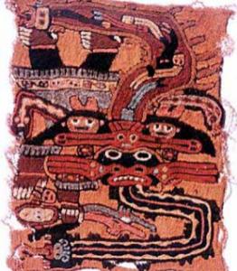 Prendas de tela estampada de Cahuachi en Ica