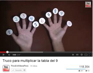 Video de matemáticas para niños con la tabla del 9