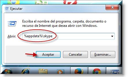 Abriendo carpeta de usuarios de Skype en Windows