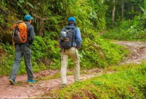Viajeros mochileros caminando con su mochila de trekking