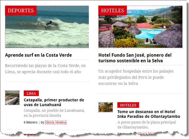 artículos de portada de web de turismo