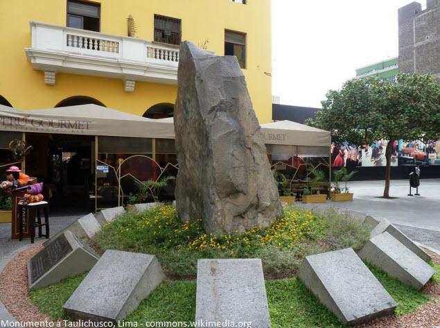 monumento Taulichusco en pasaje Santa Rosa en Lima
