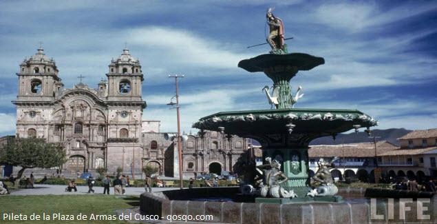 Foto de pileta en la Plaza de Armas de Cusco en Perú