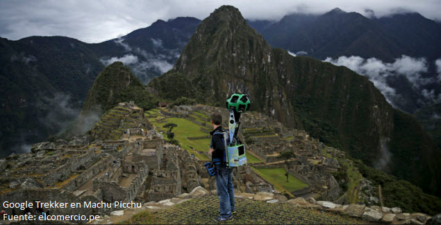 Foto de Google Trekker mapeando el Santuario de Machu Picchu en Cusco, Perú.