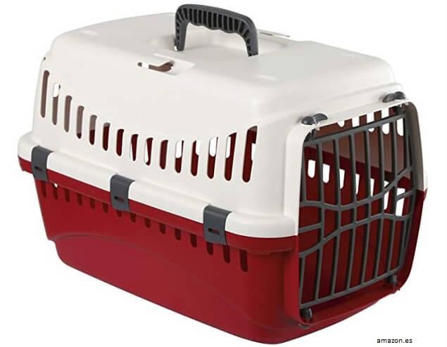 Imagen de transportín de plástico para perros pequeños y gatos en Amazon.