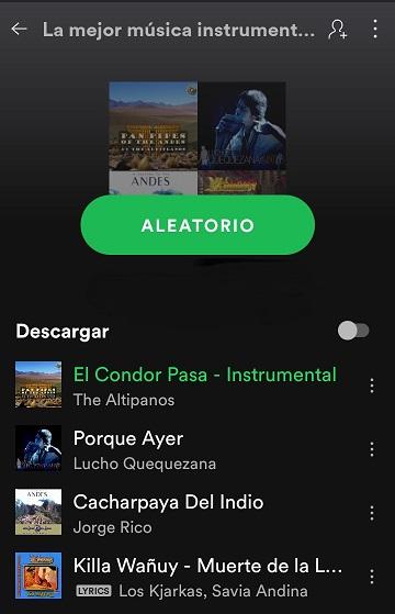 Imagen lista de la app de spotify, en el post sobre música instrumental andina para trabajar.