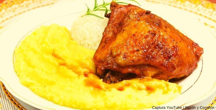Receta del pollo al horno peruano con puré de papas amarillas